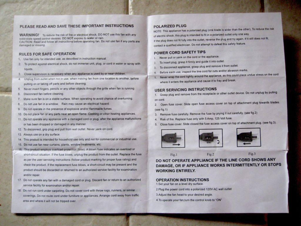 manual for a small fan