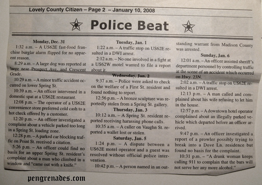 newspaper clipping listing crime of Eureka Springs AR